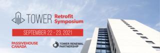 Tower Retrofit Symposium digital poster showing Ken Soble Tower
